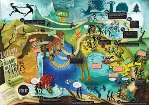 Poster Carte du Monde Merveilleux des Fables de la Fontaine
