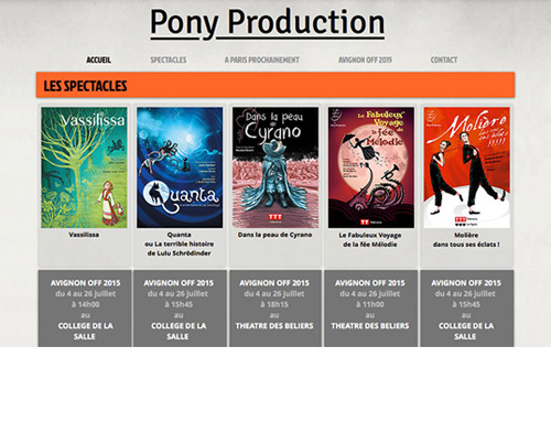 page d'accueil site Pony Production