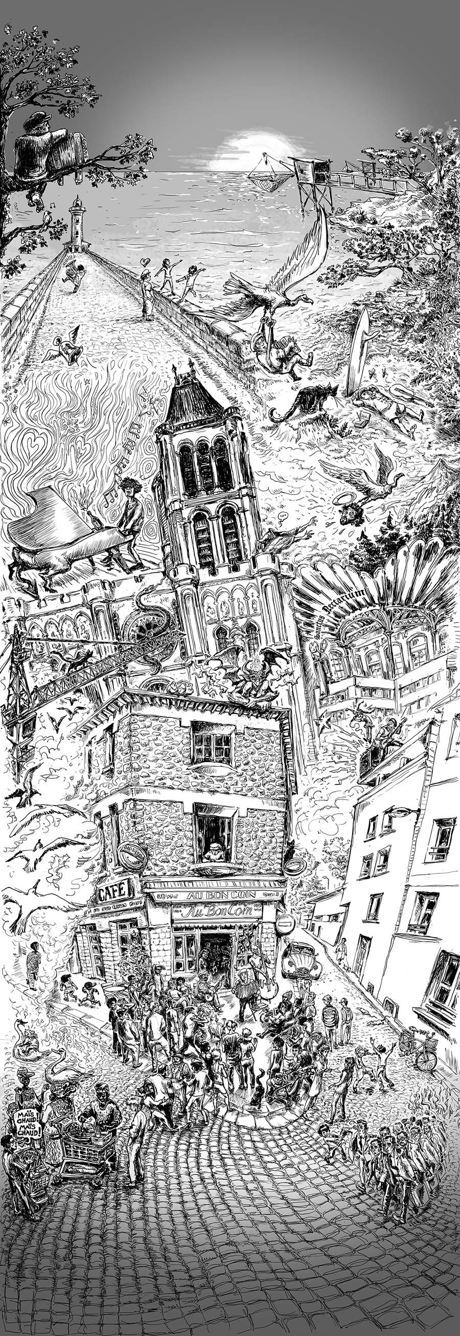 illustration website Fanch noir et blanc